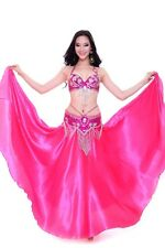 C802 Belly Dance Costume Outfit Set Bra Top Belt Hip Scarf Satin Flamenco Skirt
