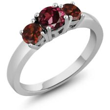 1.38 Ct Round Red Rhodolite Garnet Red Garnet 925 Sterling Silver 3-Stone Ring