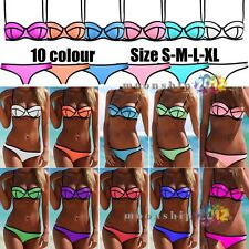Women's Push Up Swimsuit Sexy With Rims Swimwear Padded Bra Triangle Bikini 8-16