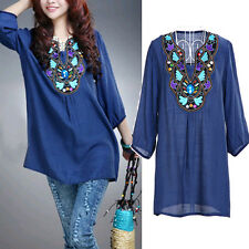 Celebrity Ethnic Embroidery Floral V Neck Woven Trim Oversize Loose Blouse Top