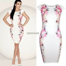 Women's Pencil Dress Party Evening Cap Sleeve Flower Ladies Bodycon Sexy EP98