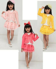 3pcs/set dresses coat shirt spring Autumn clothes girls Baby Pearl Lace Flower