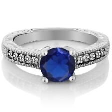 1.84 Ct Round Blue Simulated Sapphire White Diamond 925 Sterling Silver Ring