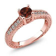 0.77 Ct Red Garnet White Diamond 925 Rose Gold Plated Silver Engagement Ring