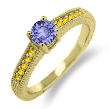 0.76 Ct Round Blue Tanzanite Yellow Sapphire 925 Yellow Gold Plated Silver Ring