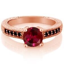 1.72 Ct Round Red Created Ruby Black Diamond 18K Rose Gold Plated Silver Ring