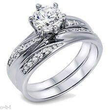 Infinity Celtic Sapphire CZ Round Engagement Wedding Sterling Silver Ring Set