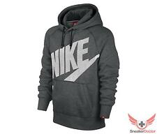 New 2014 Nike Mens AW77 Fleece Pull Over Hoodie Charcoal Grey/White All Sizes