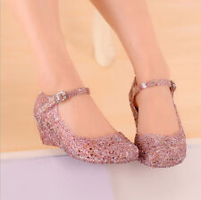 Lady Summer Soft Jelly Rubber Floral Mary Jane Round Toe Wedge Sandal Shoes-AUSE