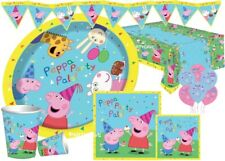 PEPPA PIG PARTY KITS KIDS PLATES CUPS NAPKIN TABLECOVER  8 16 24 32 40 JOB LOT