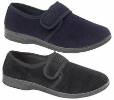 New Mens Gents Luxury Comfort Velcro Cord Slippers Black Navy Size UK 6 - 12
