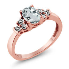 0.63 Ct Oval Sky Blue Aquamarine White Diamond 925 Rose Gold Plated Silver Ring