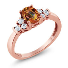 0.79 Ct Oval Ecstasy Mystic Topaz White Topaz 925 Rose Gold Plated Silver Ring