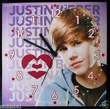 (My1) JUSTIN BIEBER CANVAS PICTURE WALL CLOCK - NEW IN SEALED PACKAGING