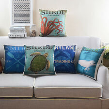"New Vintage 18"" Saqure Pillow Case Ocean Home Decor Room Car Sofa Cushion Cover"