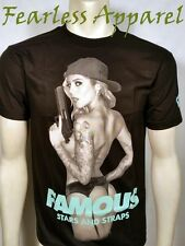 FAMOUS STARS & STRAPS LOCKED AND LOADED GIRL NUDE NAKED GOTH PUNK T SHIRT S-2XL