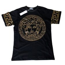 Brand New Authentic Black Versace T-Shirt With Rose Gold Medusa Head L,XL