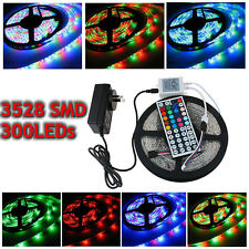 5M 3528 RGB 300 LED SMD Flexible Light Strip 24/44 Key IR &12V 2A Power Supply