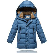 2014 Kids Boys Thicken long section Down Jacket 4 Color size 6-10Y