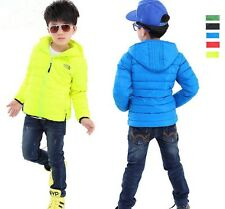 The Kids Boys Girls Coat Winter Warm padded Hooded cotton Down Short Jacket 3-7Y