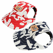 Dog Baseball Hats Letter Print Cap With Ear Holes For Small Dogs Red & Blue