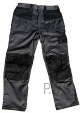 Mens Cargo Combat Trousers Work Wear Pants Knee Pad Pockets Black / Grey HYM717