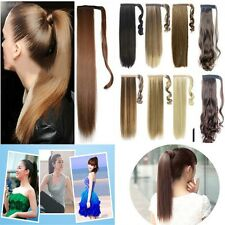 Long Clip In Ponytail Pony Tail Hair Extension Wrap On Hair Piece Wavy Straight