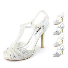 ladies white wedding shoes sparkle shine new arrival T bar high heels world sale