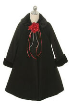 BLACK Fleece & Fur Trim A-Line Dress Coat Satin Lining Flower Girls Coat Easter