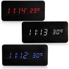 New Modern Digital Black Alarm Desk Clock Thermometer LED Display Multi Colors