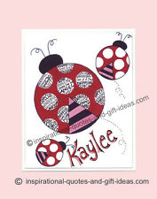 PERSONALIZED LADYBUG PICTURES WALL ART DECOR GIRLS ROOM BABY NURSERY PRINT