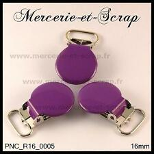 2 / 5 / 10  PINCES A BRETELLE ROND CROCODILE VIOLET 16 mm