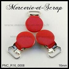 2 / 5 / 10  PINCES A BRETELLE ROND CROCODILE ROUGE 16 mm