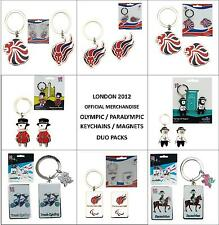 London 2012 Olympic Paralympic Memorabilia Key Chain Magnet Duo Set Rare Limited