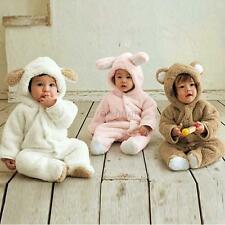 Kids Toddlers Furry Ears Hooded One Piece Romper Playsuit Warm Costume 0-3Y