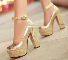 WOMENS LADIES HIGH HEEL CHUNKY SOLE PLATFORM STRAPPY BRIDAL SHOES SIZE 4 5 6 7 8