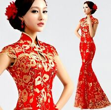 New reformed cheongsam dress red cultivate one's morality fishtail dress F137