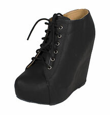 Jello! By Soda Lace Up Hidden Platform Wedge Ankle Bootie in Black Leatherette