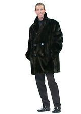 Mens Ranch Mink Double Breasted Car Coat Jacket