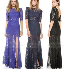 Sexy Women Lace Cut Out Long Formal Ball Cocktail Prom Party Dress /Evening Gown