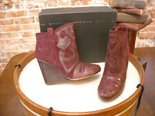 Steve Madden Miitch Wine Suede Embossed Wedge Ankle Boot NEW