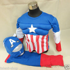Boys Kids Halloween Superhero Muscle Padded Fancy Dress Outfit Costume Size 2-7