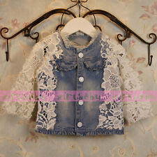 kids Gilrs Jeans White Flower  Lace Jacket Coat 6M-6Y Free SHipping Hot Sell