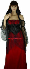 Medieval Vampire Vampiress Witch Fancy Dress Gown Costume - 10 12 14 16 18 20