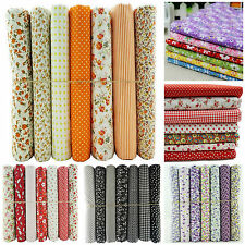 7 Fat Quarters Bundle Cotton Fabric Craft Patchwork Quilting Sewing Bunting UK