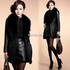 Women's Girls Faux Raccoon Fur Collar Jacket Coat Short Slim Leather Outerwear