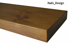 HANDMADE CHUNKY WOODEN FLOATING SHELF 14.5 cm deep x 4 cm thick DARK OAK FINISH