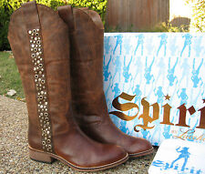 NEW Ladies Spirit by Lucchese Avery Tan Leather Grommet Western Riding Boots