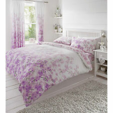 Floral Blossom Duvet Cover Lavender Pink Bedding Cotton Blend Bed Set All Sizes