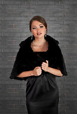 WEDDING EVENING FAUX FUR BLACK SHAWL SHRUG BOLERO CAPE  S M L XL -B24